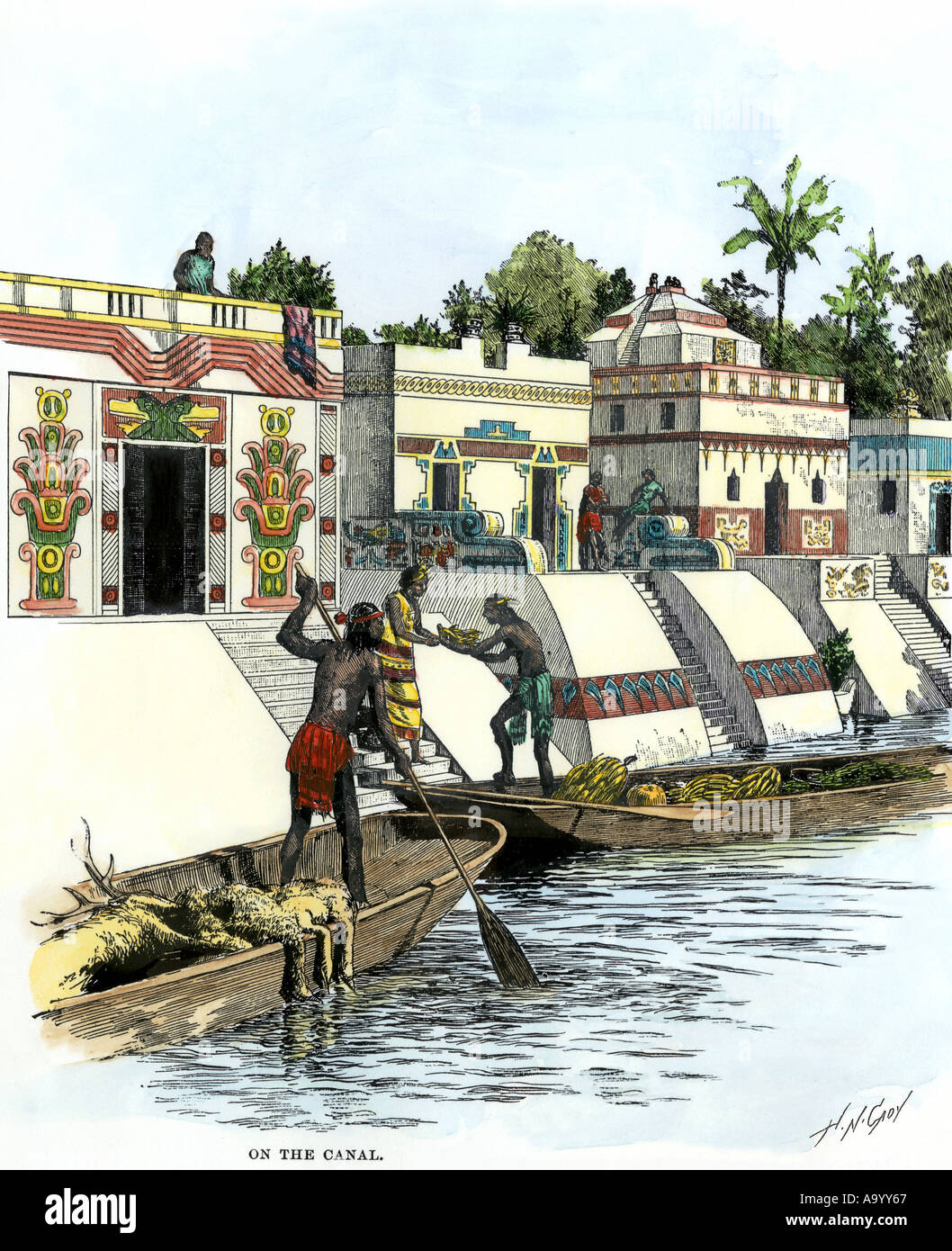 aztec merchants on the canal in tenochtitlan before the spanish