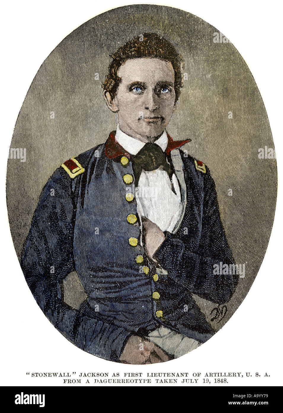 Young Thomas Jackson when he was first lieutenant of artillery US Army 1848 later known as Stonewall Jackson. Hand-colored woodcut - Stock Image