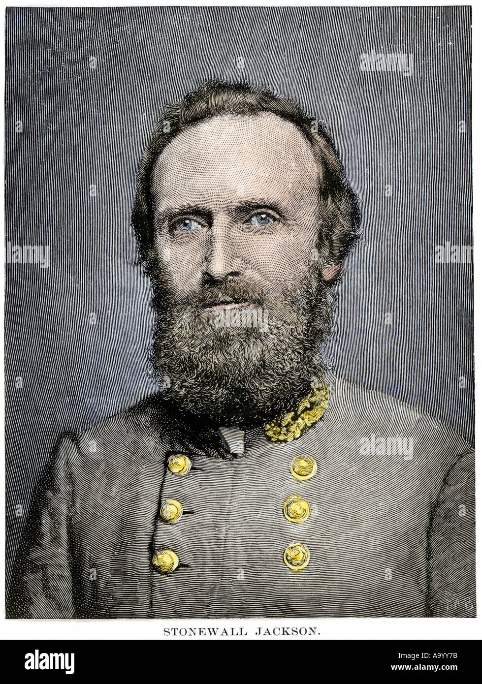 Confederate General Thomas Stonewall Jackson. Hand-colored woodcut - Stock Image