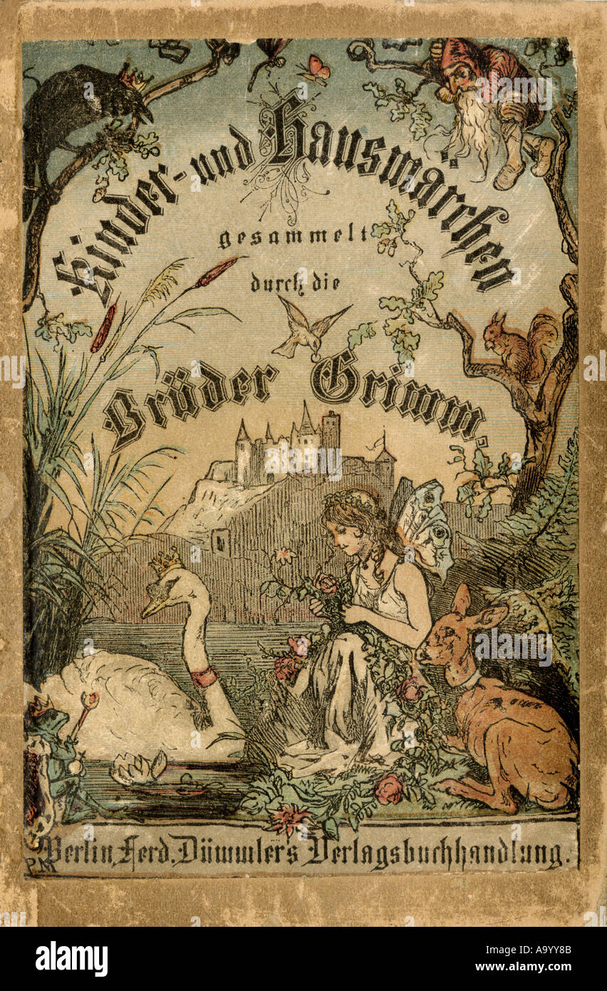 Cover of Brothers Grimm tales from a German edition published in Berlin 1865. - Stock Image
