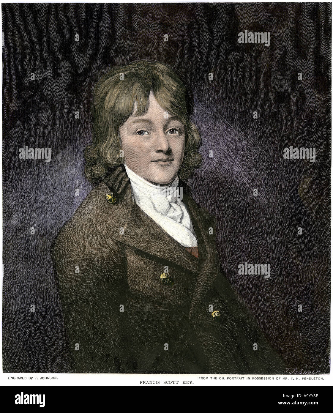Francis Scott Key author of the Star Spangled Banner. Hand-colored woodcut - Stock Image