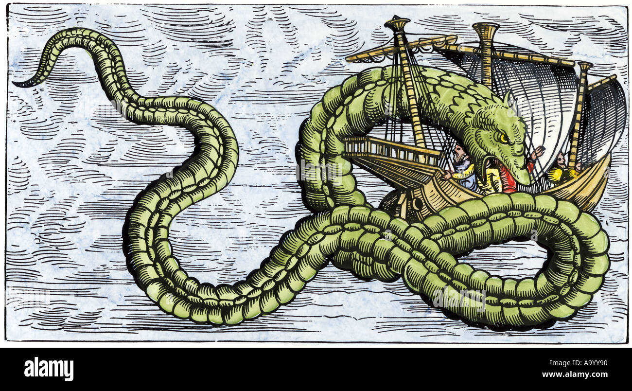 Ship attacked by a sea serpent in the Sea of Darkness, from Olaus Magnus 1555. Hand-colored woodcut - Stock Image