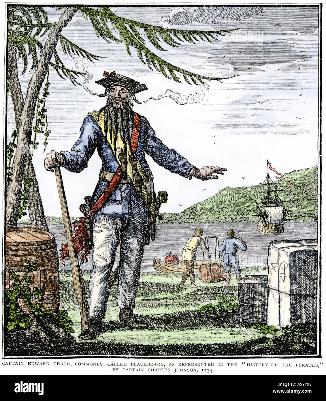 Captain Edward Teach commonly called Blackbeard the Pirate. Hand-colored woodcut - Stock Image