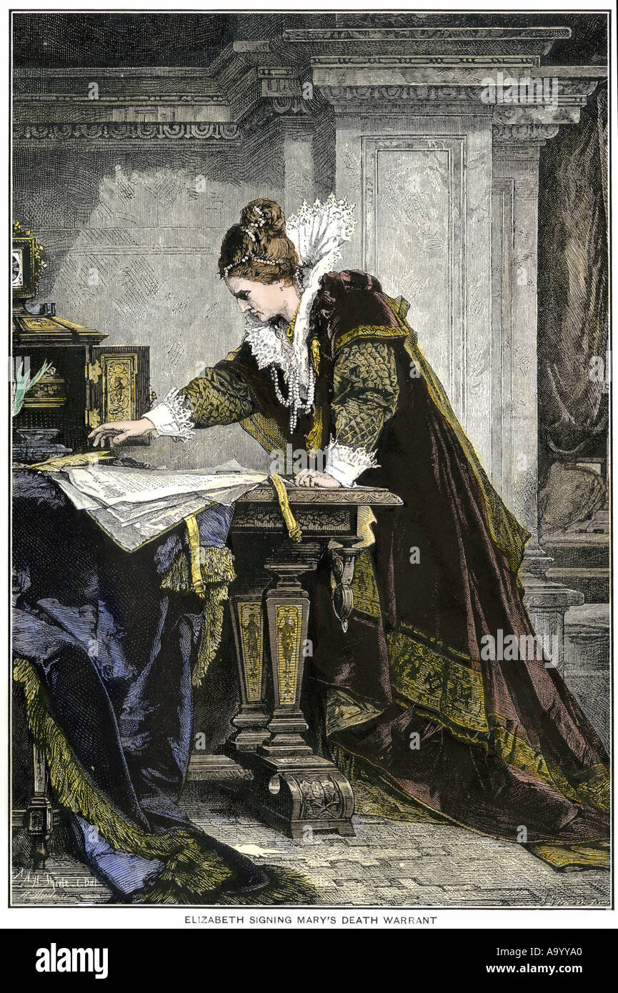 Elizabeth I signing the death warrant for Mary Queen of Scots. Hand-colored woodcut - Stock Image