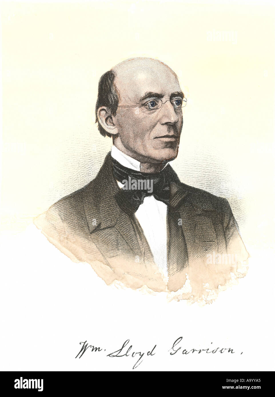 William Lloyd Garrison portrait with autograph. Hand-colored steel engraving - Stock Image