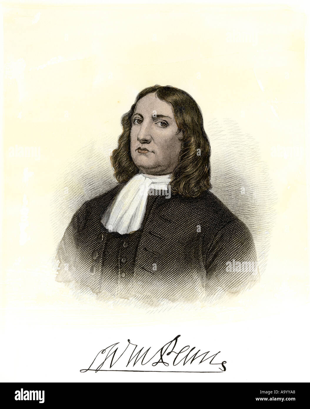 William Penn with autograph. Hand-colored steel engraving - Stock Image