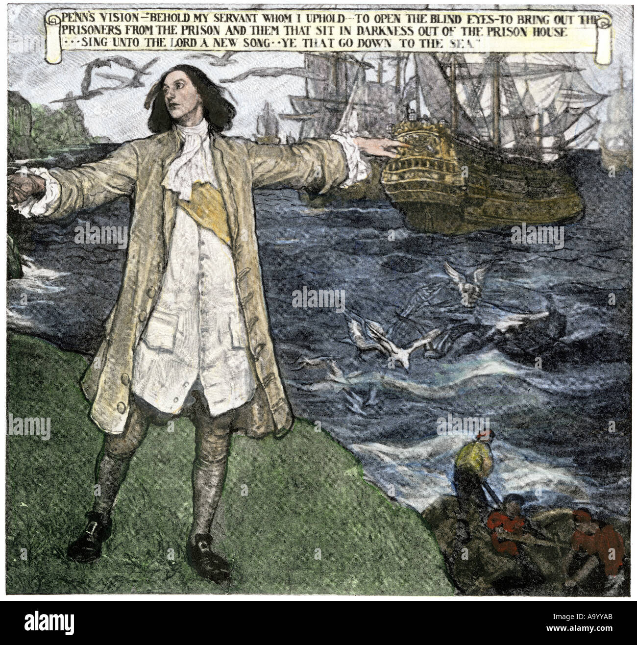 William Penn vision of ships liberating prisoners. Hand-colored halftone of an illustration - Stock Image