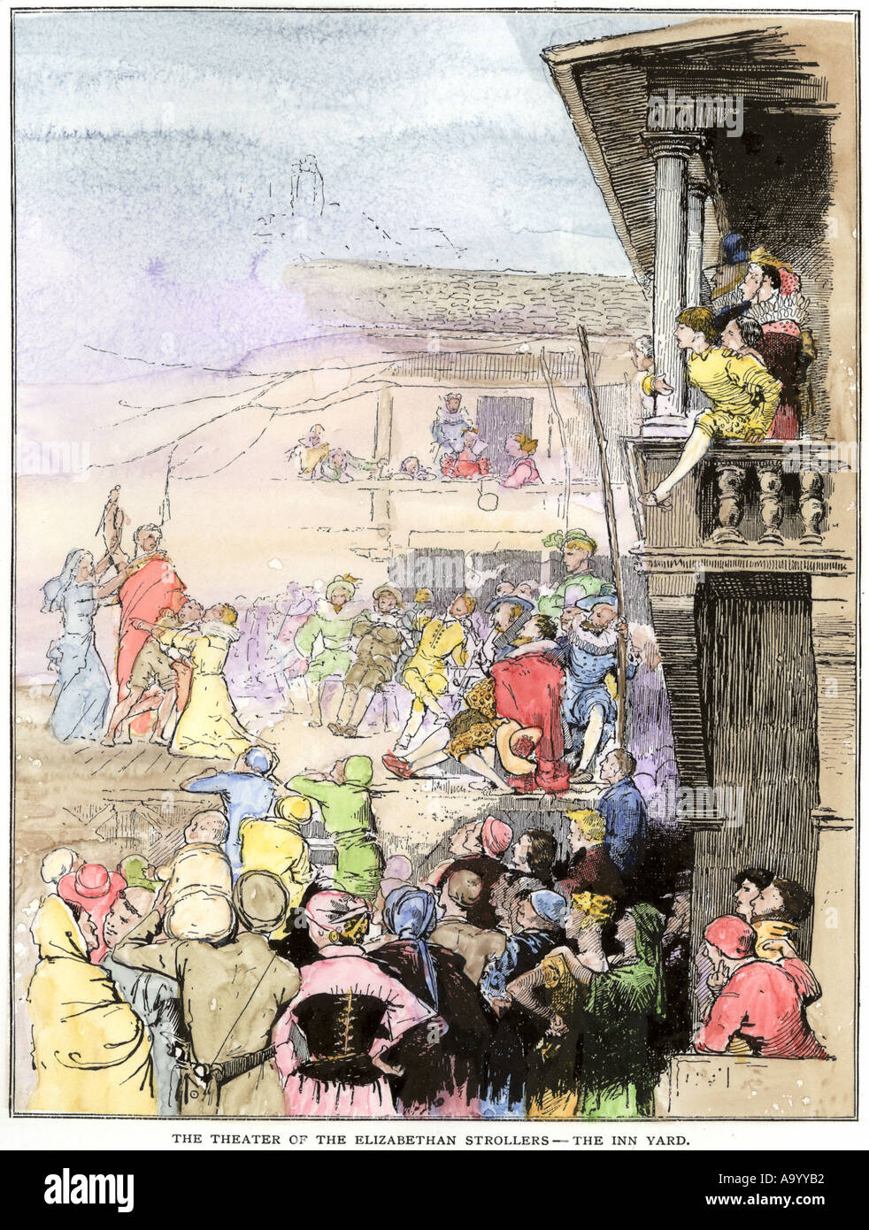 Theater of the Elizabethan Strollers in an inn yard 1500s England. Hand-colored woodcut - Stock Image