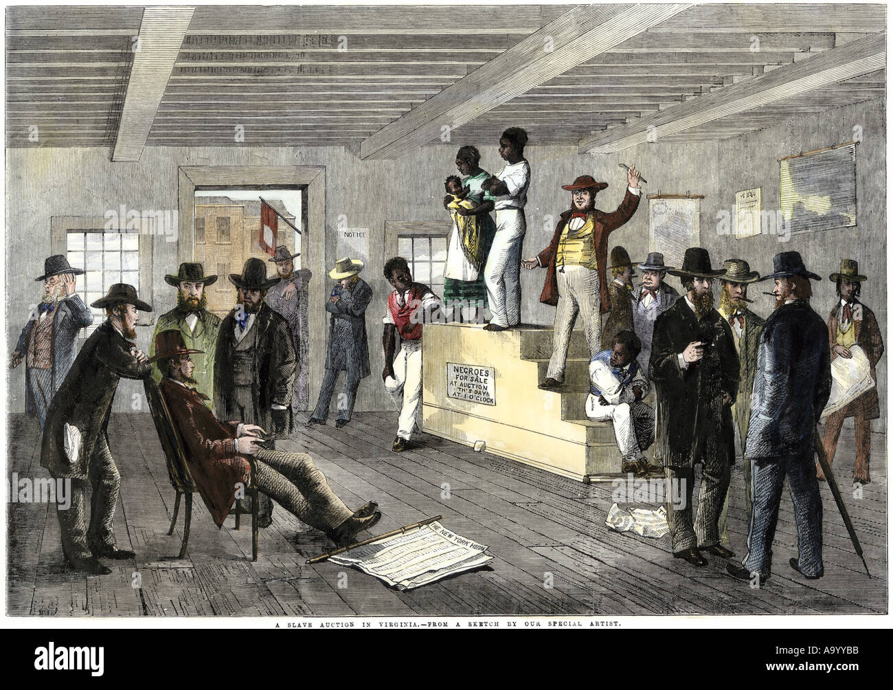Slave auction in Virginia 1800s. Hand-colored woodcut - Stock Image