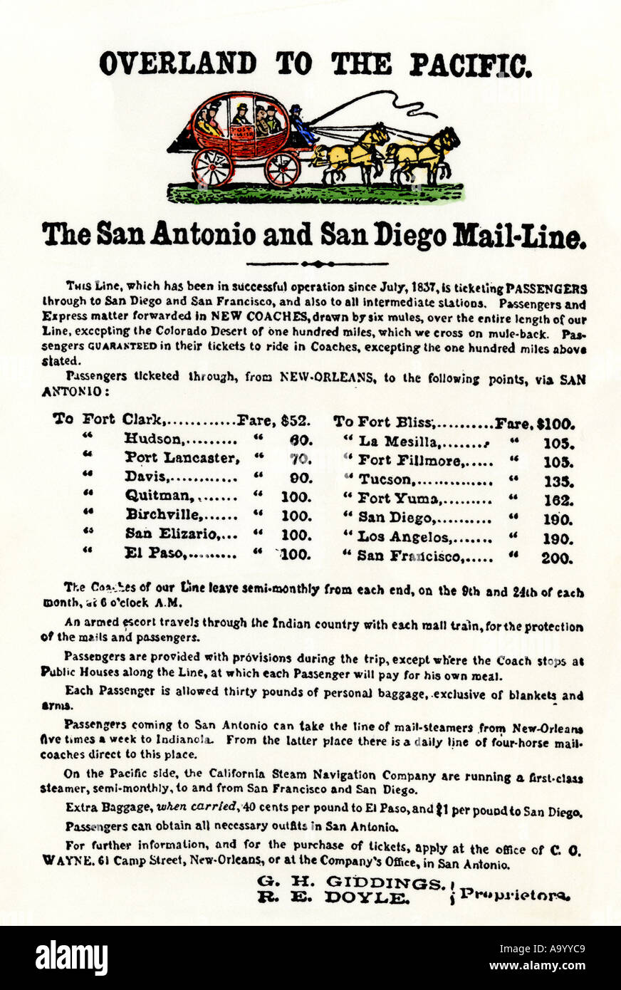 Advertisement for the San Antonio San Diego overland stagecoach line 1838. Hand-colored woodcut - Stock Image