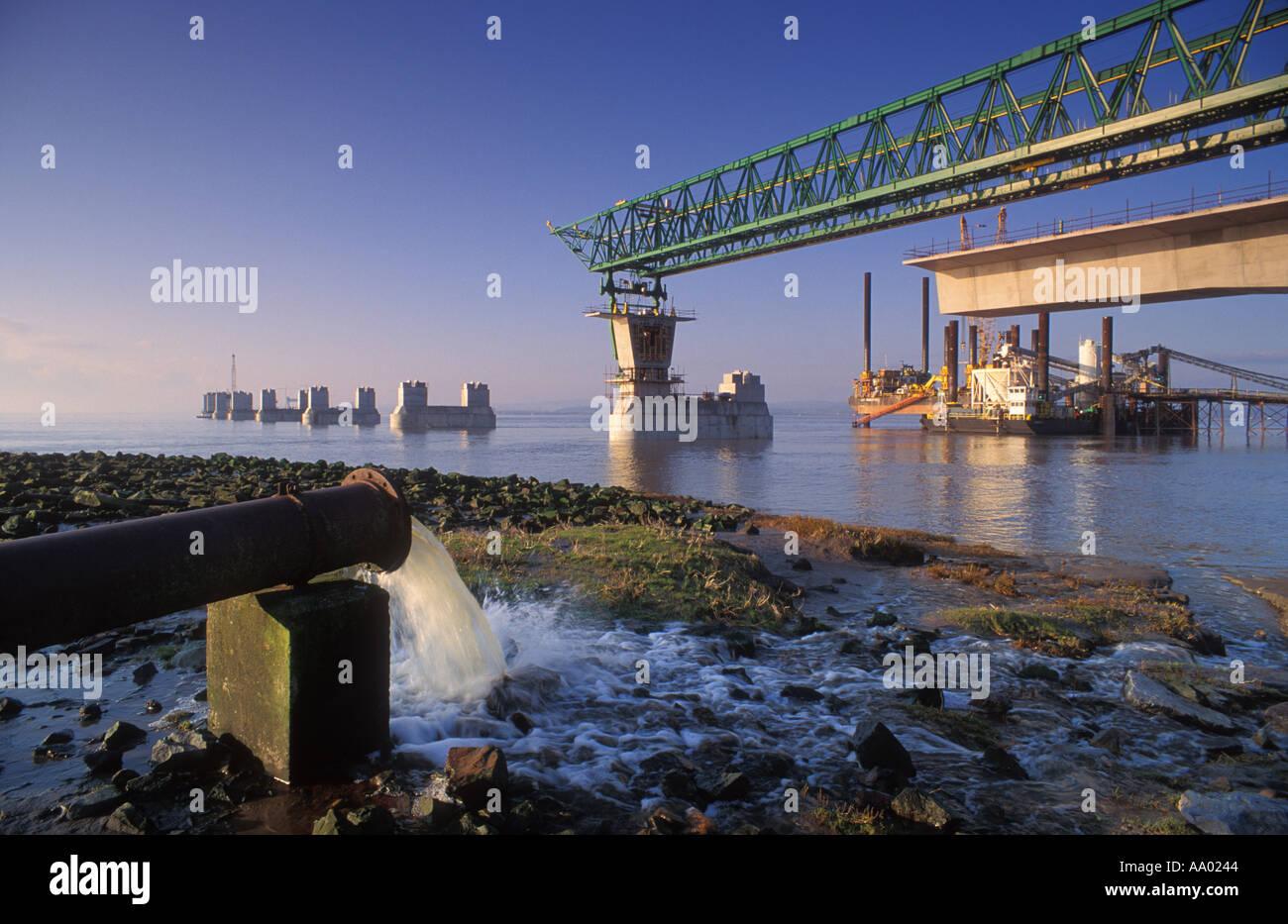 Construction of second Severn crossing Severn Estuary England UK - Stock Image