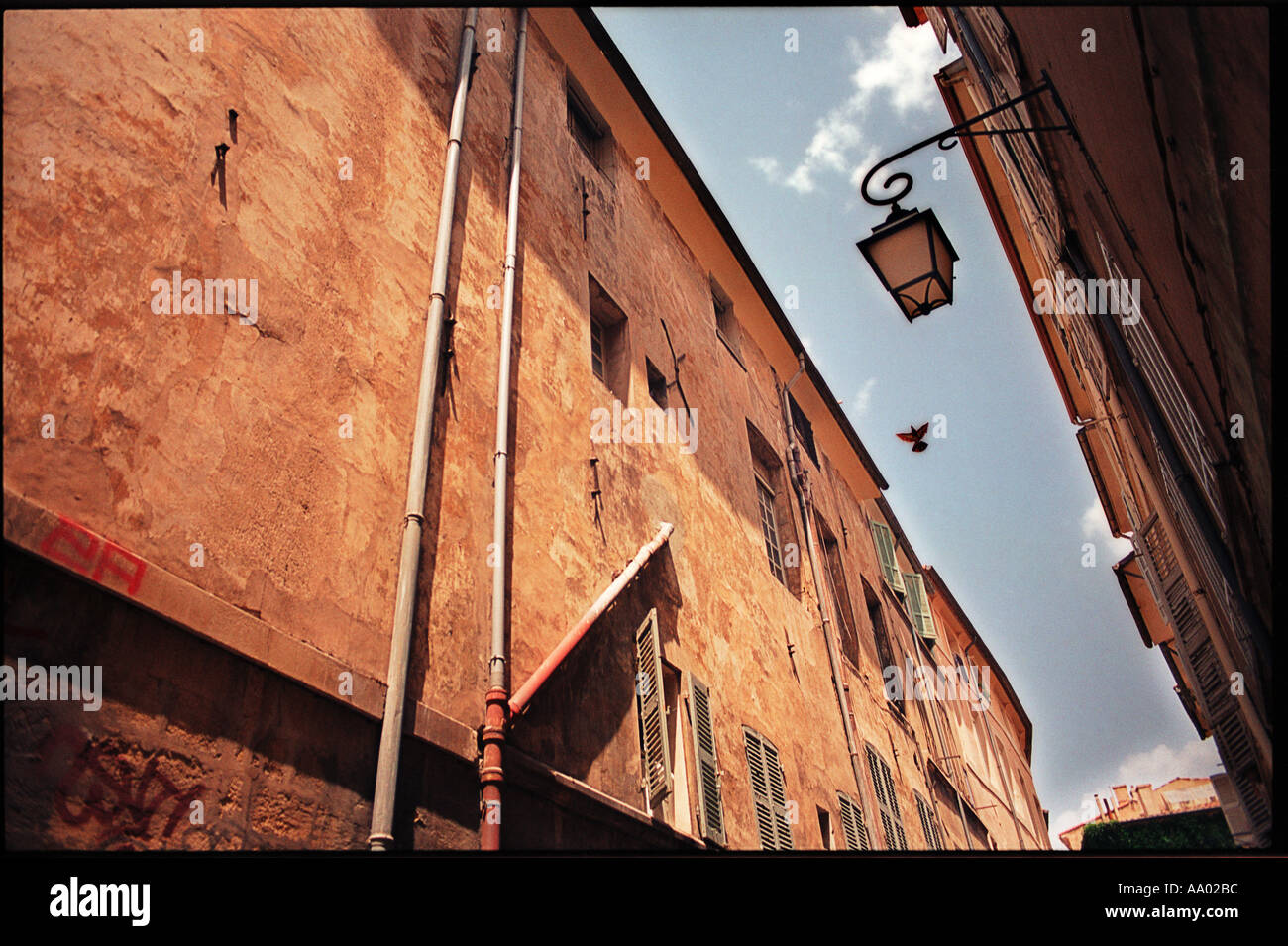 bird flying between buildings in the old center of Aix en Provence France Stock Photo