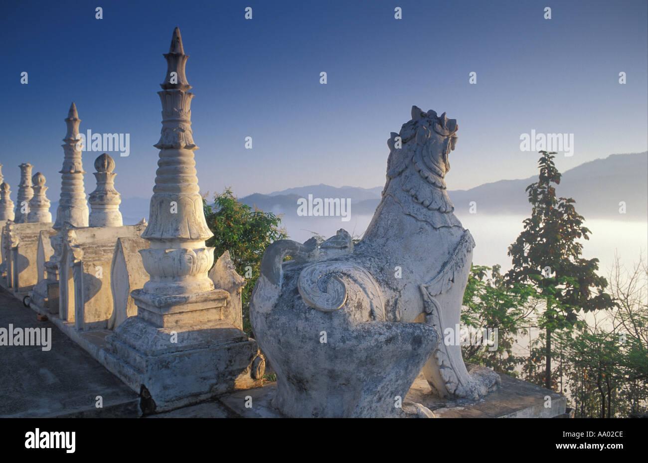 Dawn at Wat Doi King Mu Mae Hong Song Thailand - Stock Image
