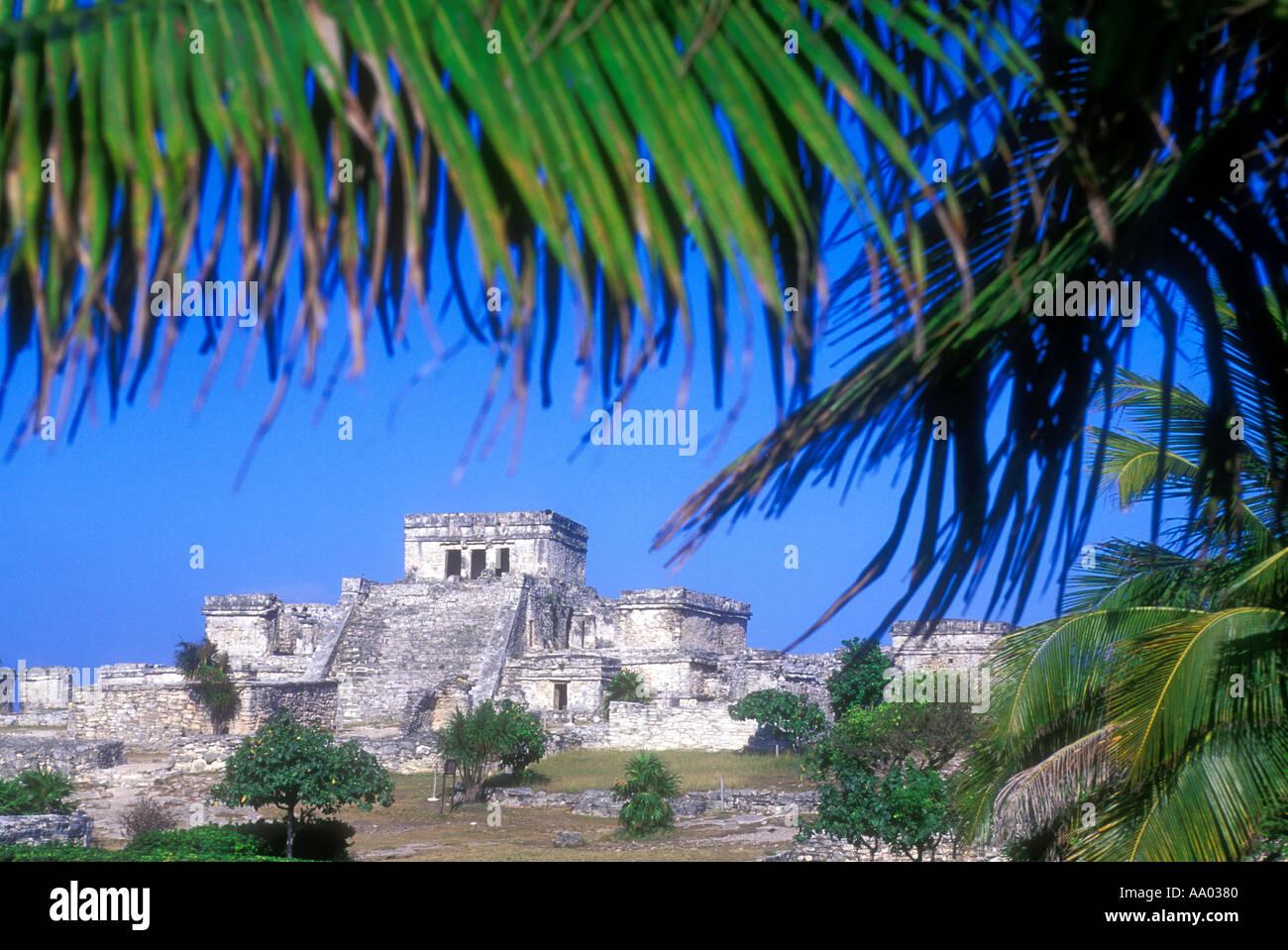 Mayan ruins at Tulum Quintana Roo Mexico - Stock Image