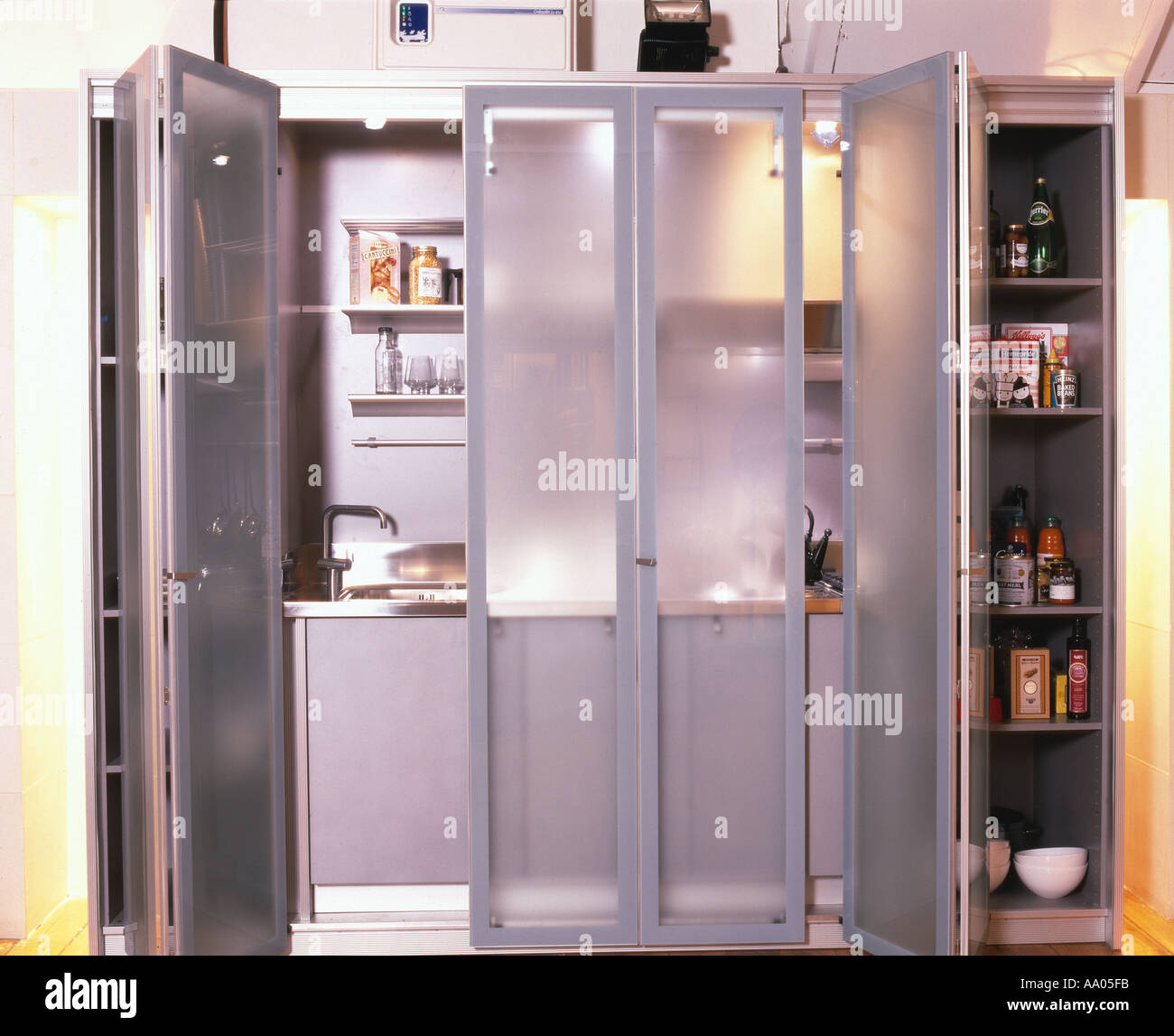 Small Spaces Kitchen In Cupboard With Sliding Doors Overall With