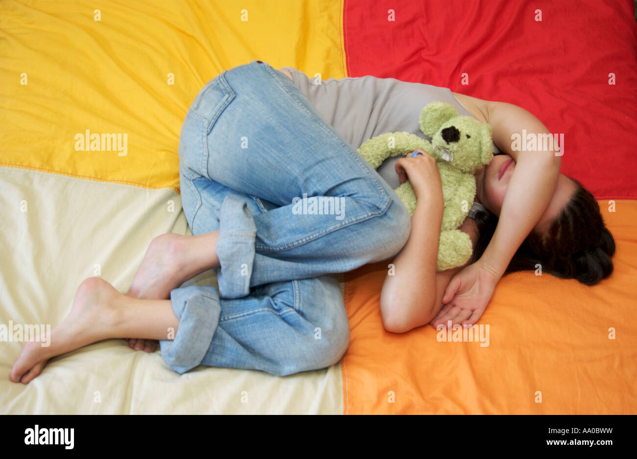 Depression - depressed young teenager / child - Stock Image