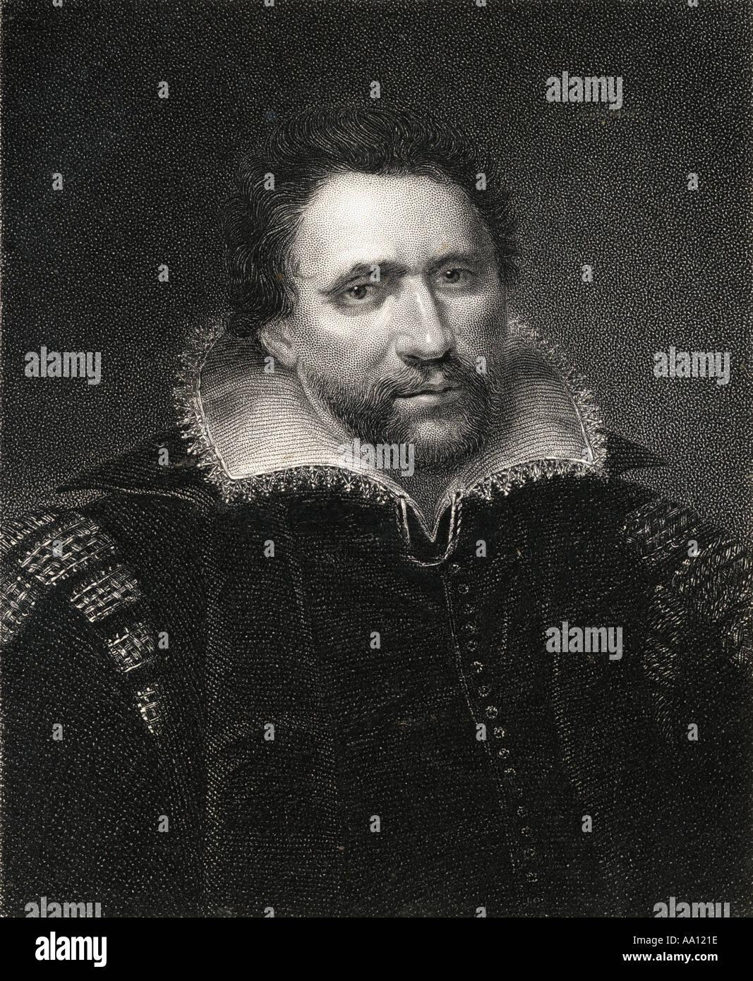 Ben Jonson, aka Benjamin Johnson, 1572 - 1637.  English Renaissance dramatist,  poet and actor. - Stock Image