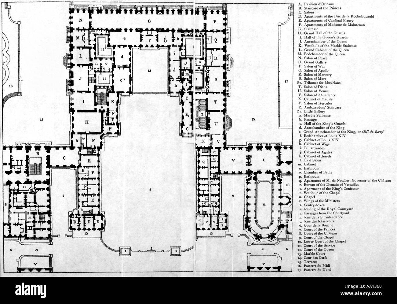 Plan Of First Floor Of Chateau Of Versailles During Reign Of Louis Xiv Stock Photo Alamy