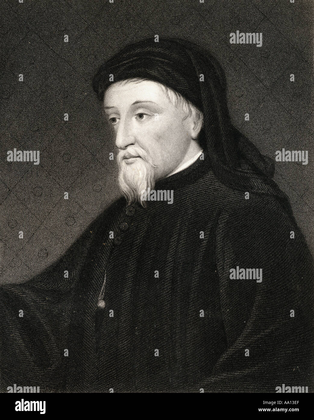 Geoffrey Chaucer, aka Father of English literatura, c.1343 - 1400. English writer and poet. - Stock Image