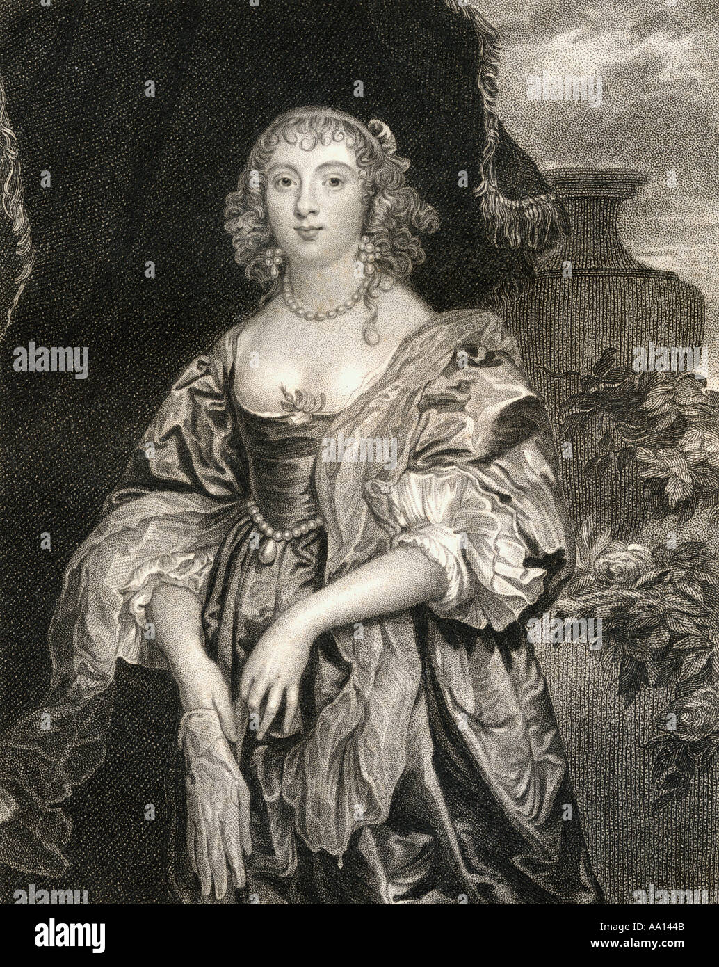 Anne Carr, Countess of Bedford, 1615 - 1684.  Wealthy English noblewoman, and wife of William Russell, 5th Earl of Bedford - Stock Image