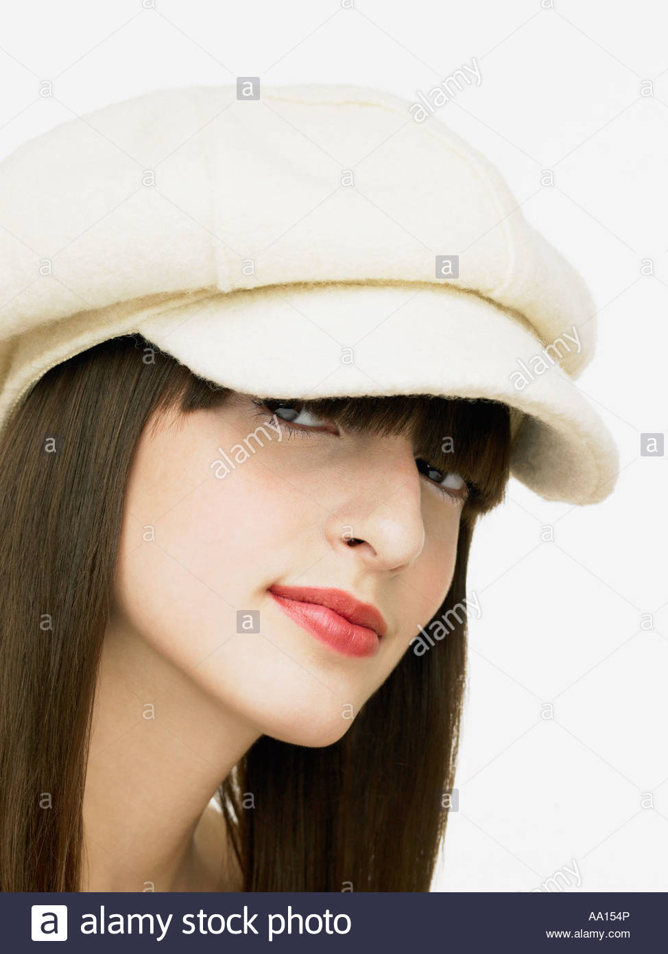 9791a944587e8 Young woman wearing a hat Stock Photo  12479877 - Alamy