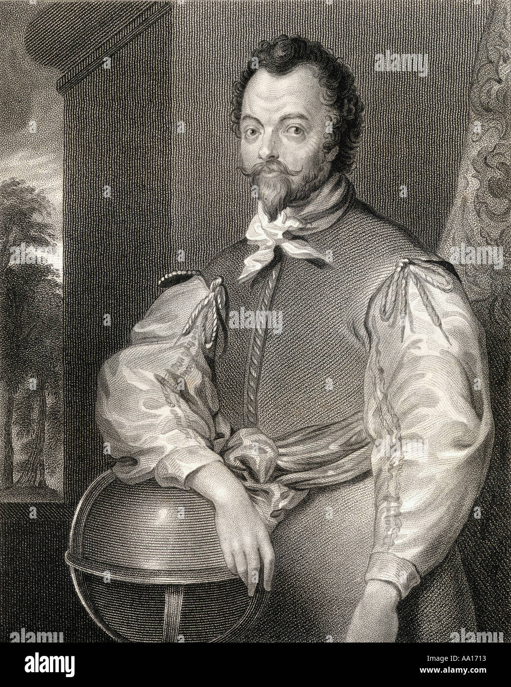 Sir Francis Drake, c.1540 - 1596.  English sea captain, privateer, slave trader, naval officer and explorer of the Elizabethan era. - Stock Image