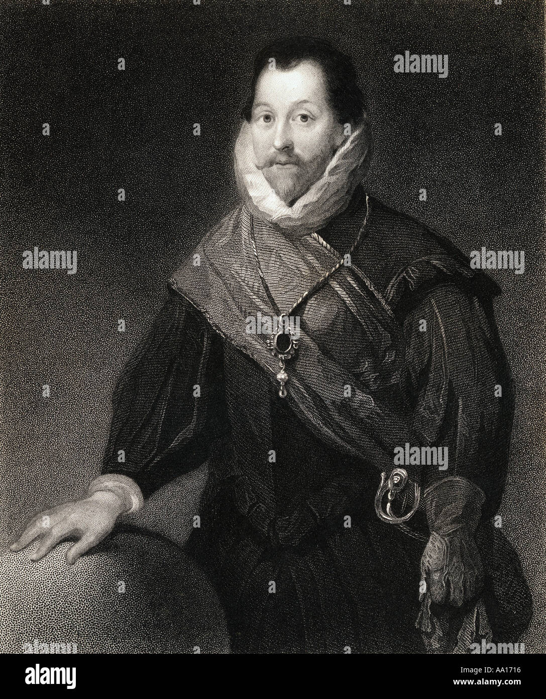 Sir Francis Drake  c.1540 - 1596.  English sea captain, privateer, slave trader, naval officer and explorer of the Elizabethan era. - Stock Image
