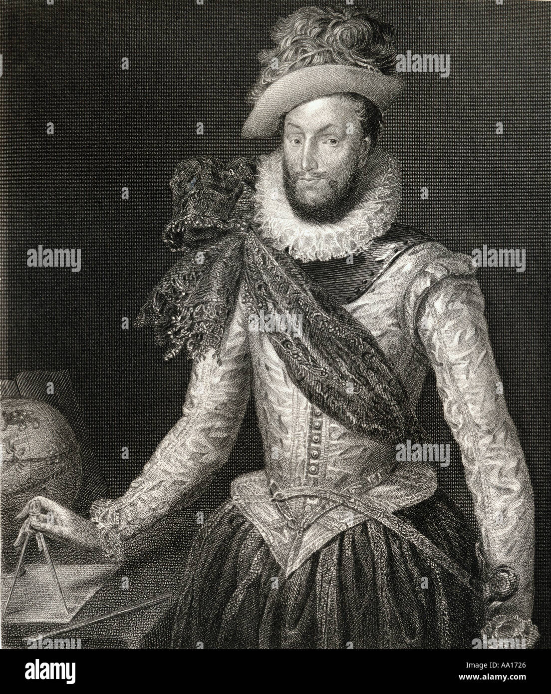Sir Walter Raleigh, c 1554 - 1618. English landed gentleman, writer, poet, soldier, politician, courtier, spy and explorer. - Stock Image