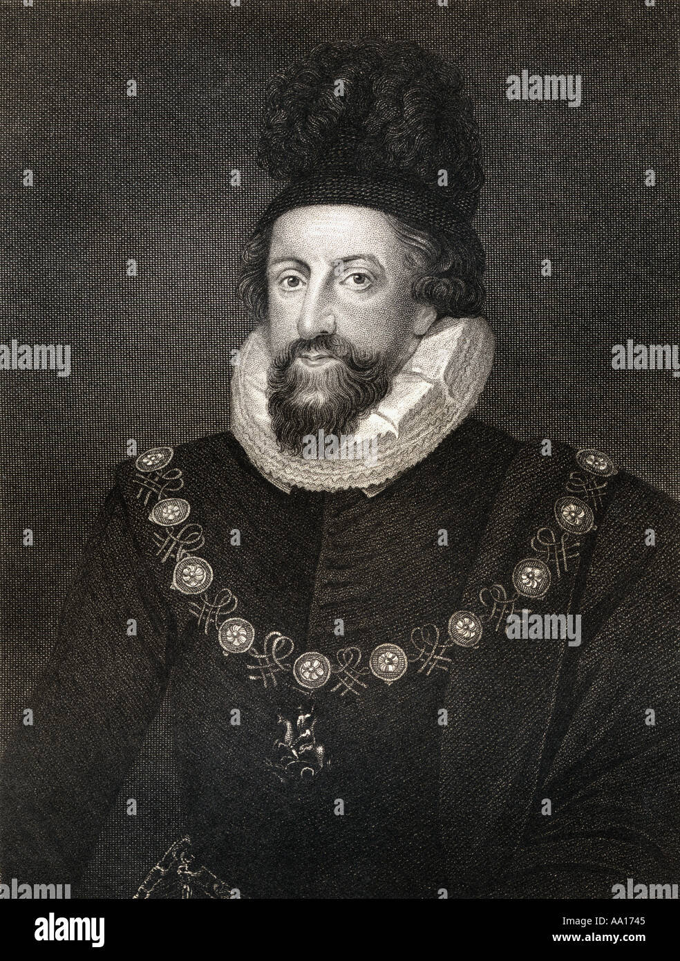 Admiral Thomas Howard, 1st Earl of Suffolk, 1561 – 1626. Lord Howard of Walden. An English commander during the Stock Photo
