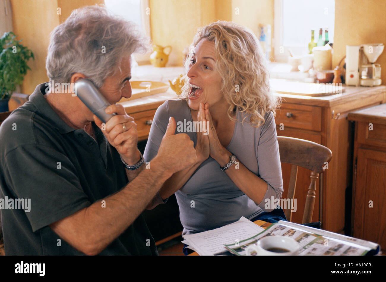 Couple getting good news - Stock Image