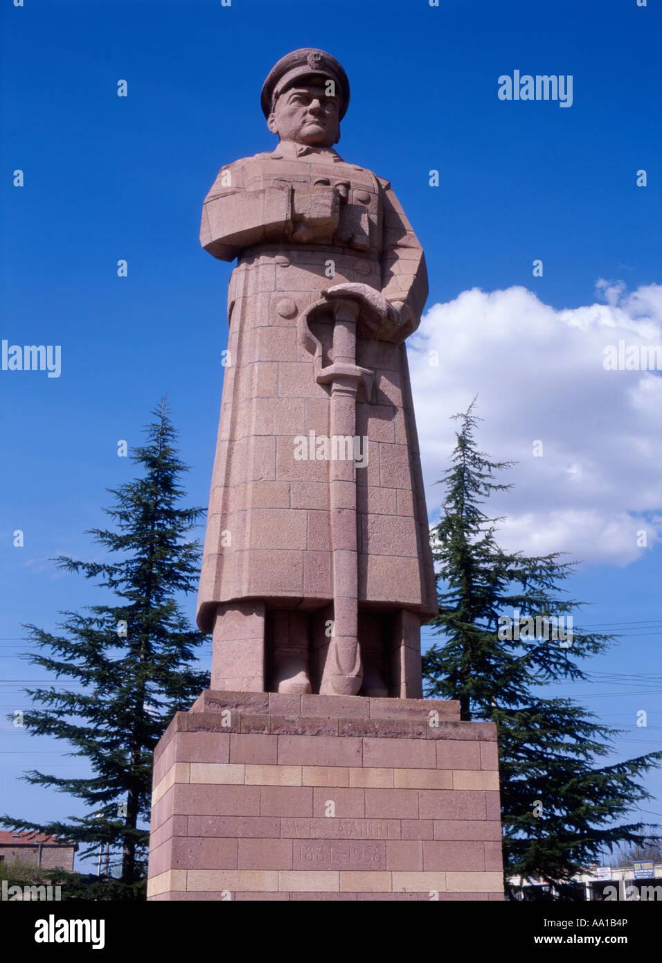 Statue of Mustafa Kemal Atatürk, Derinkuyu, Turkey first president of the Turkish republic. Stock Photo