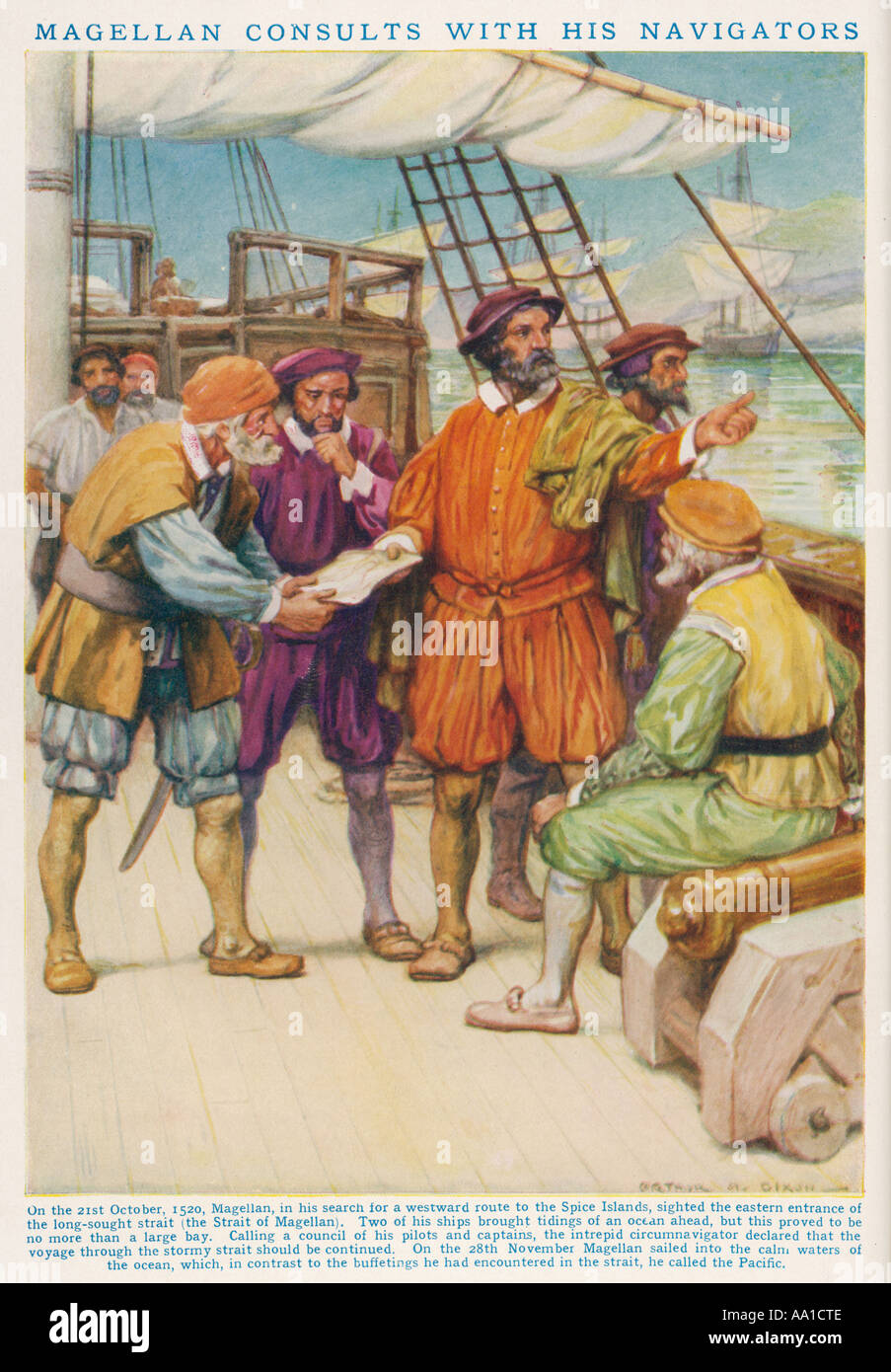 Magellan And His Crew - Stock Image