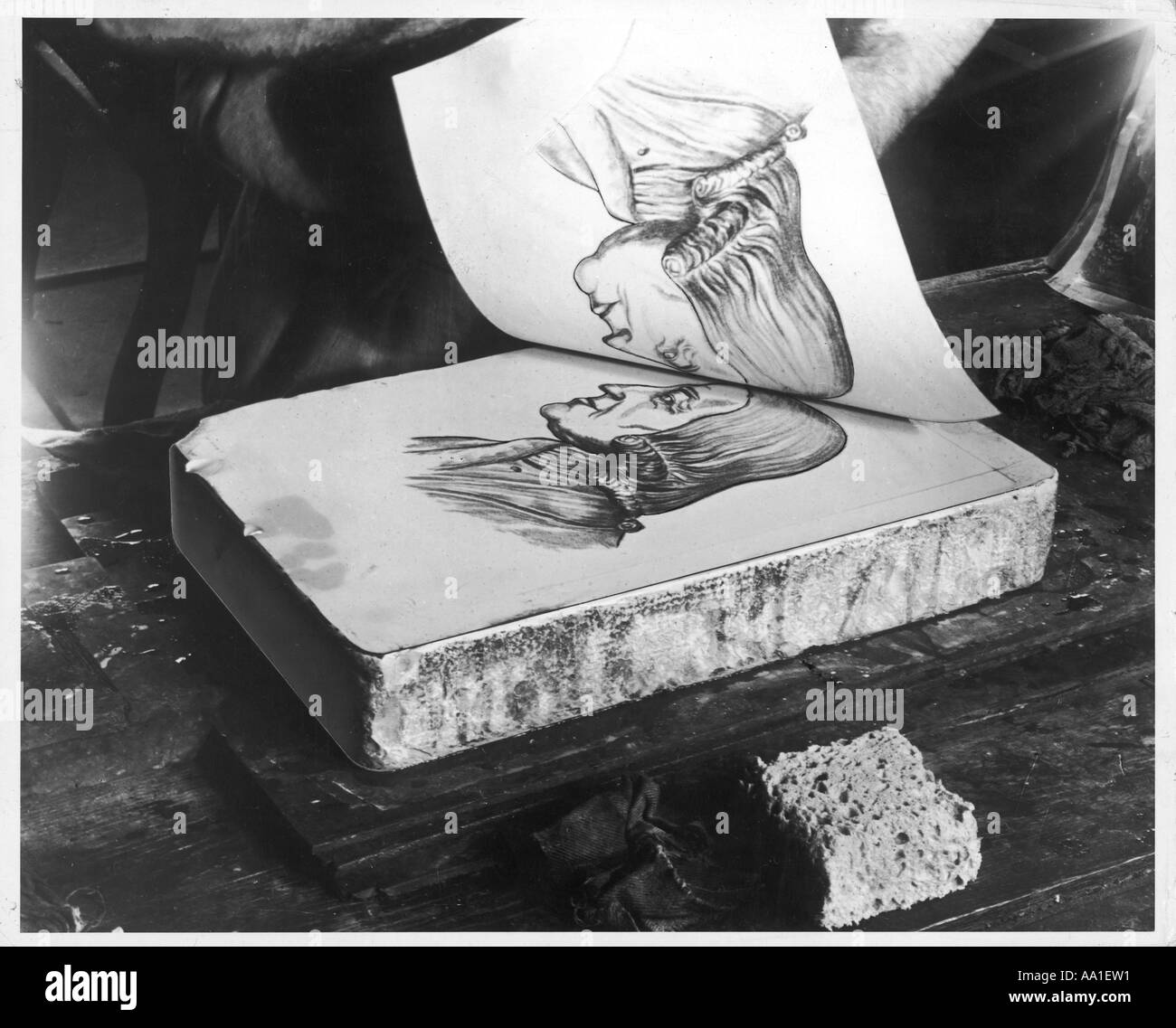 Making A Lithograph - Stock Image