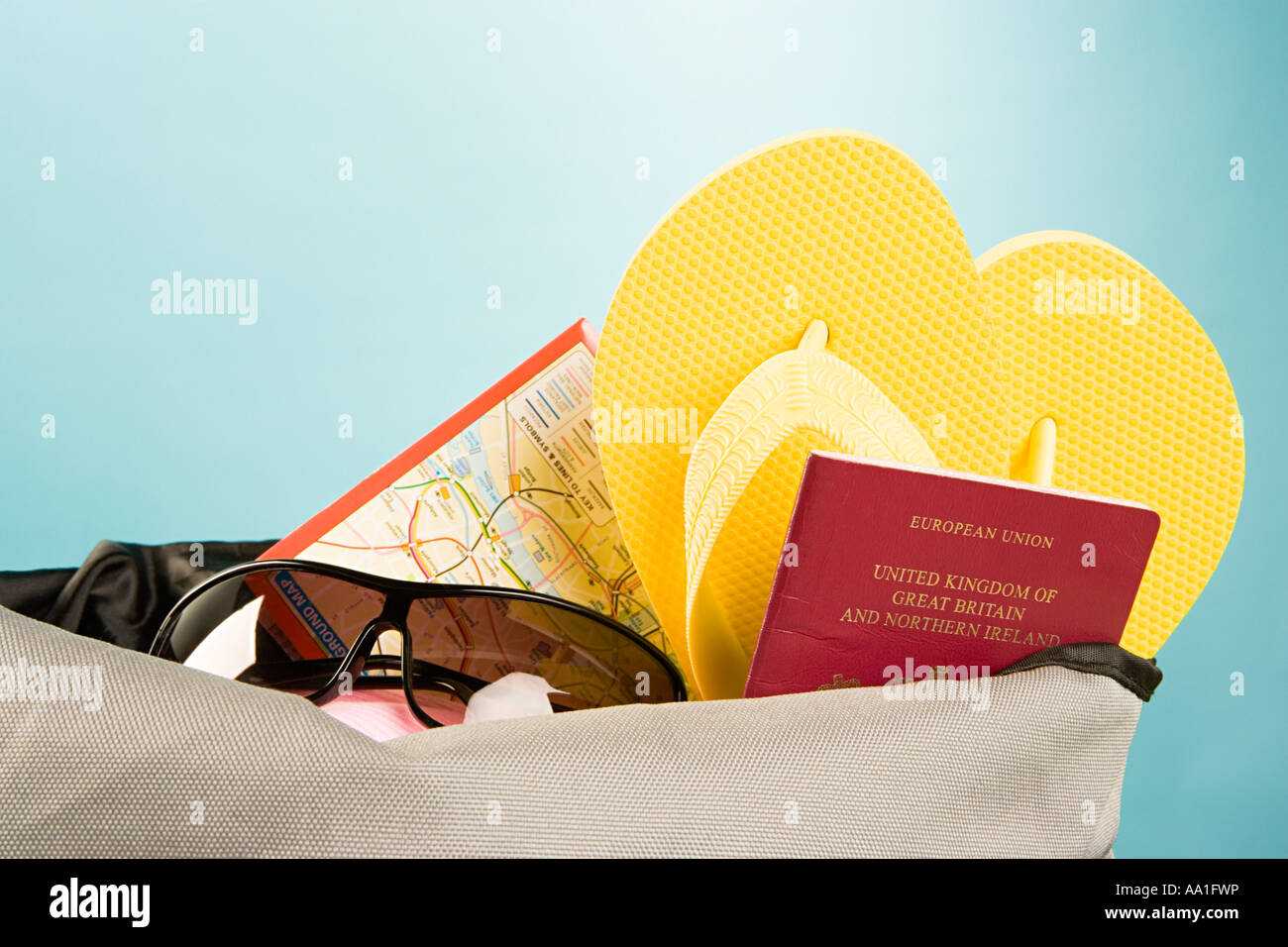 Bag full of holiday items - Stock Image