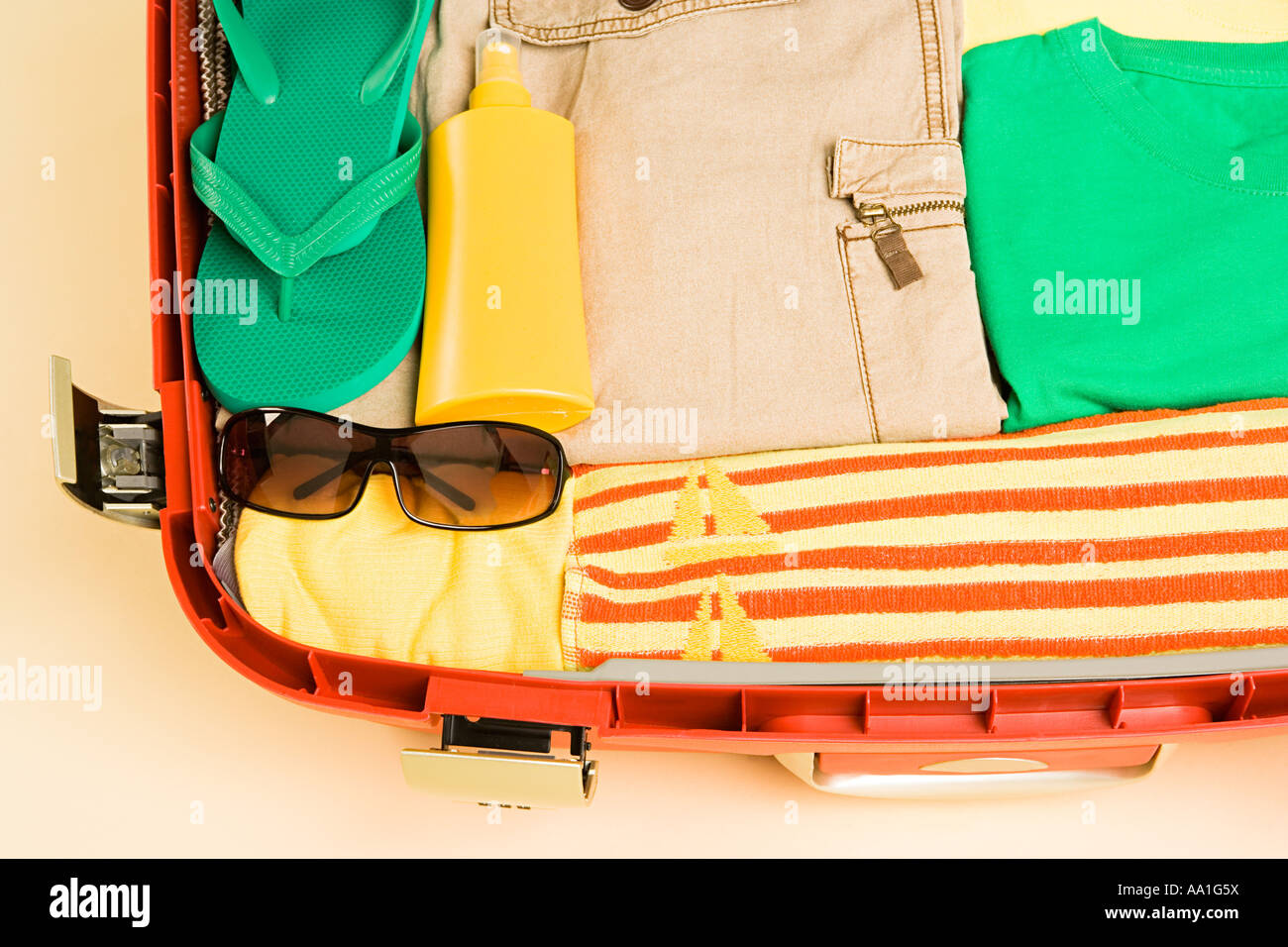 Packed suitcase - Stock Image