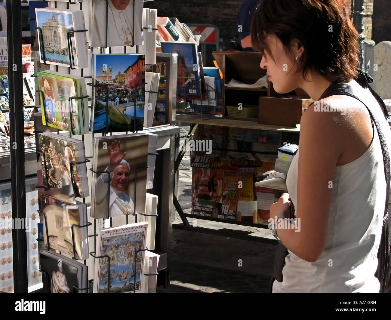Tourist buying postcards on St Peter s square Rome Italy Stock Photo