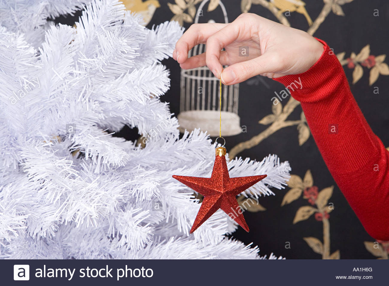 Woman holding christmas decoration - Stock Image