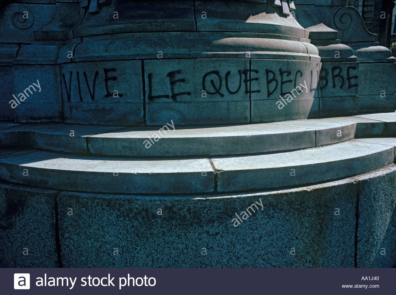 Separatist slogan Vive Le Quebec Libre in Quebec City Quebec Canada - Stock Image