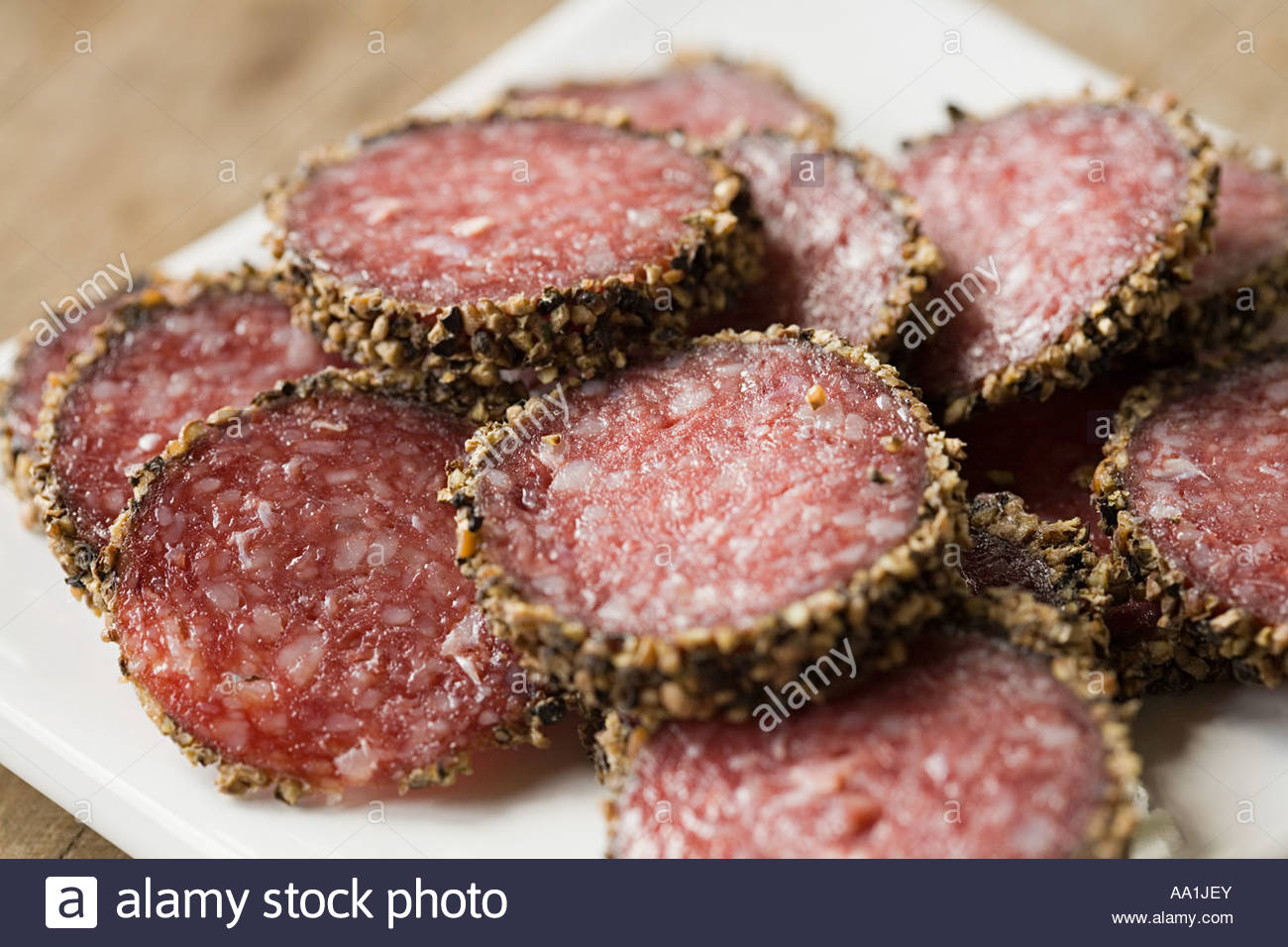 Slices of pepperoni sausage - Stock Image