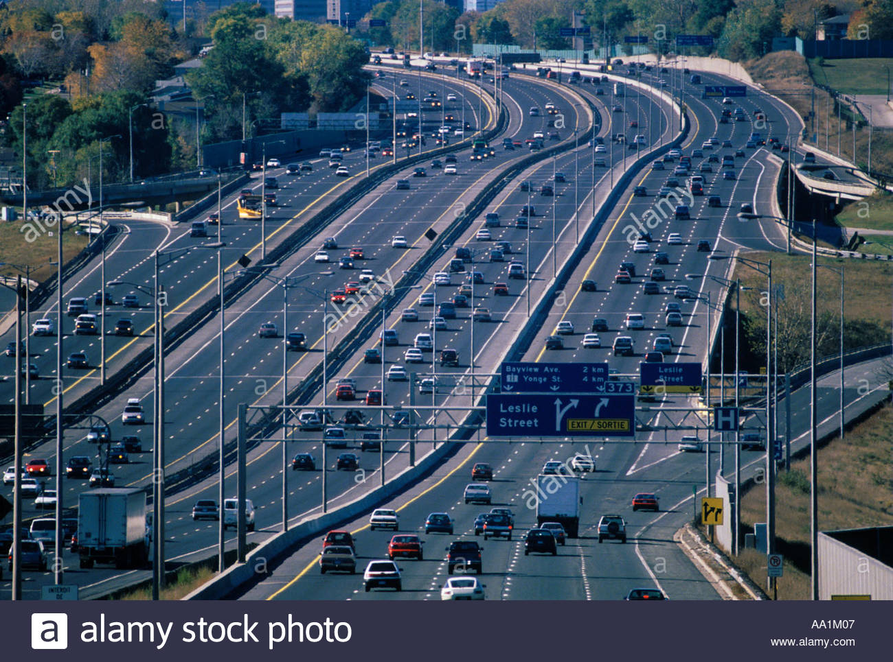 Highway 401 fourteen lanes of traffic across the top of Toronto
