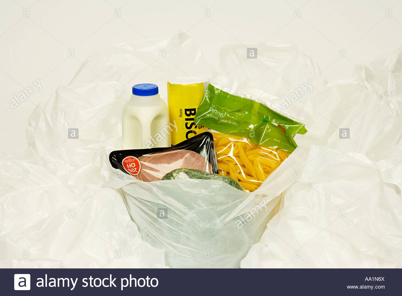 Food in a shopping bag - Stock Image