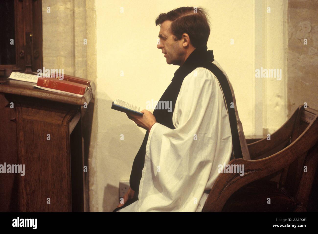 Sunday church service Reverent Rev Martin Down Church of St Saint Nicolas Ashill Norfolk HOMER SYKES - Stock Image