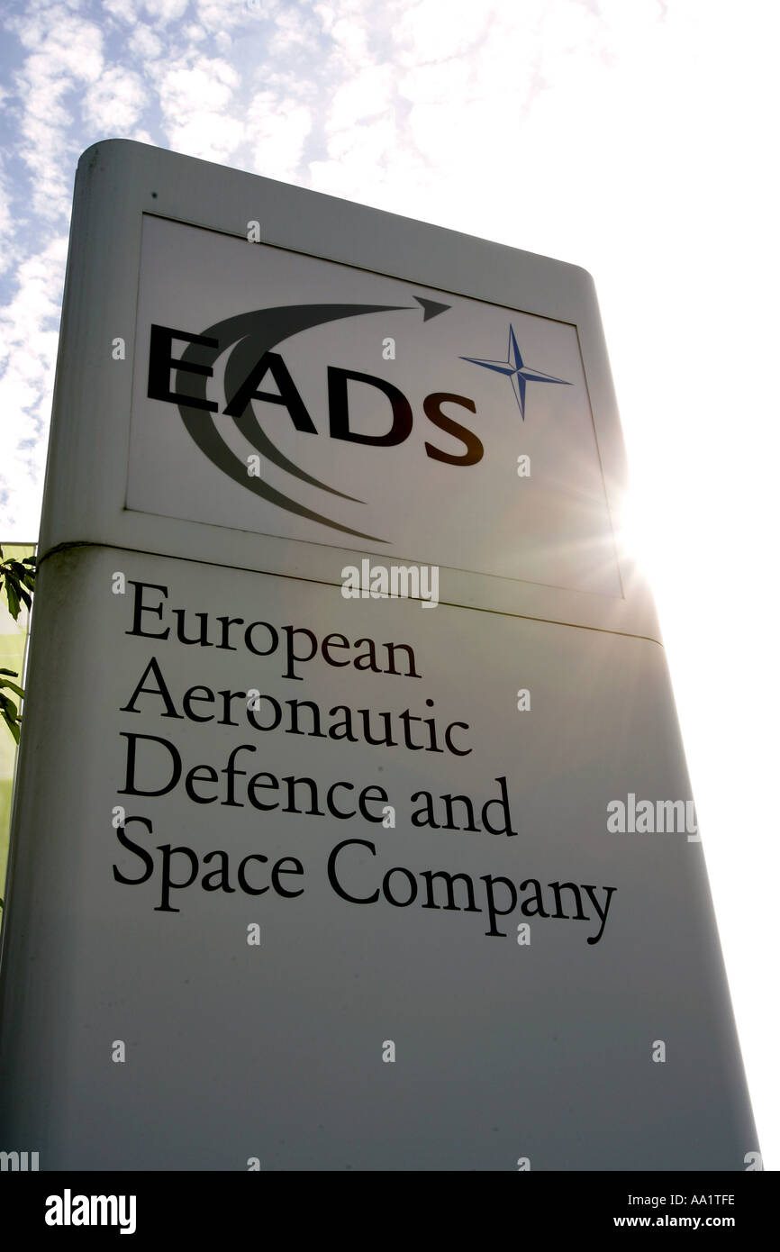 Sign of the European Aeronautic Defence and Space Company EADS in front of the firm area in Ottobrunn near Munich Bavaria - Stock Image