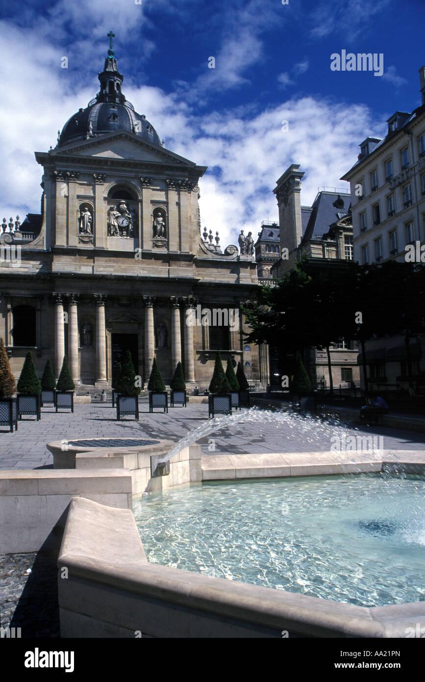 Entrance to the Sorbonne University of Paris France - Stock Image