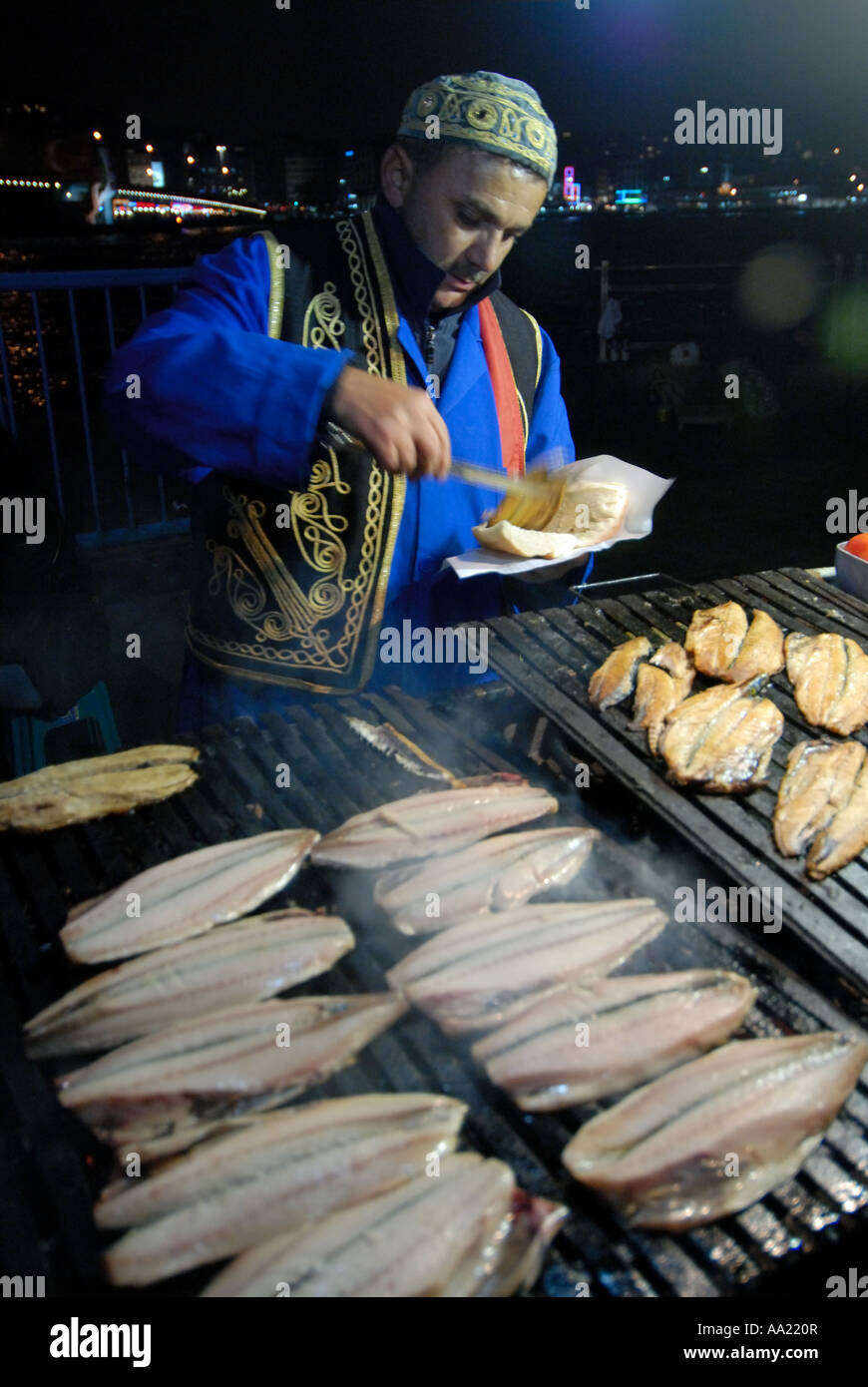 tradtional grilled fish sandwiche seller in Istanbul - Stock Image