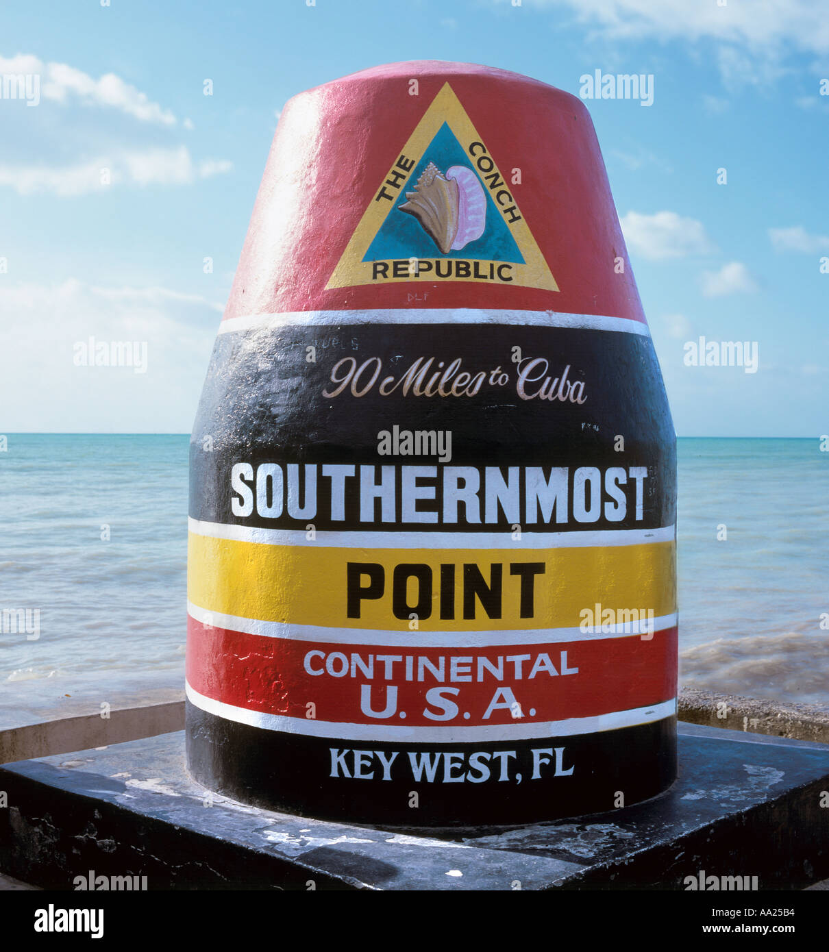 Marker fo the Southernmost Point in the Continental USA, Key West, Florida, USA - Stock Image