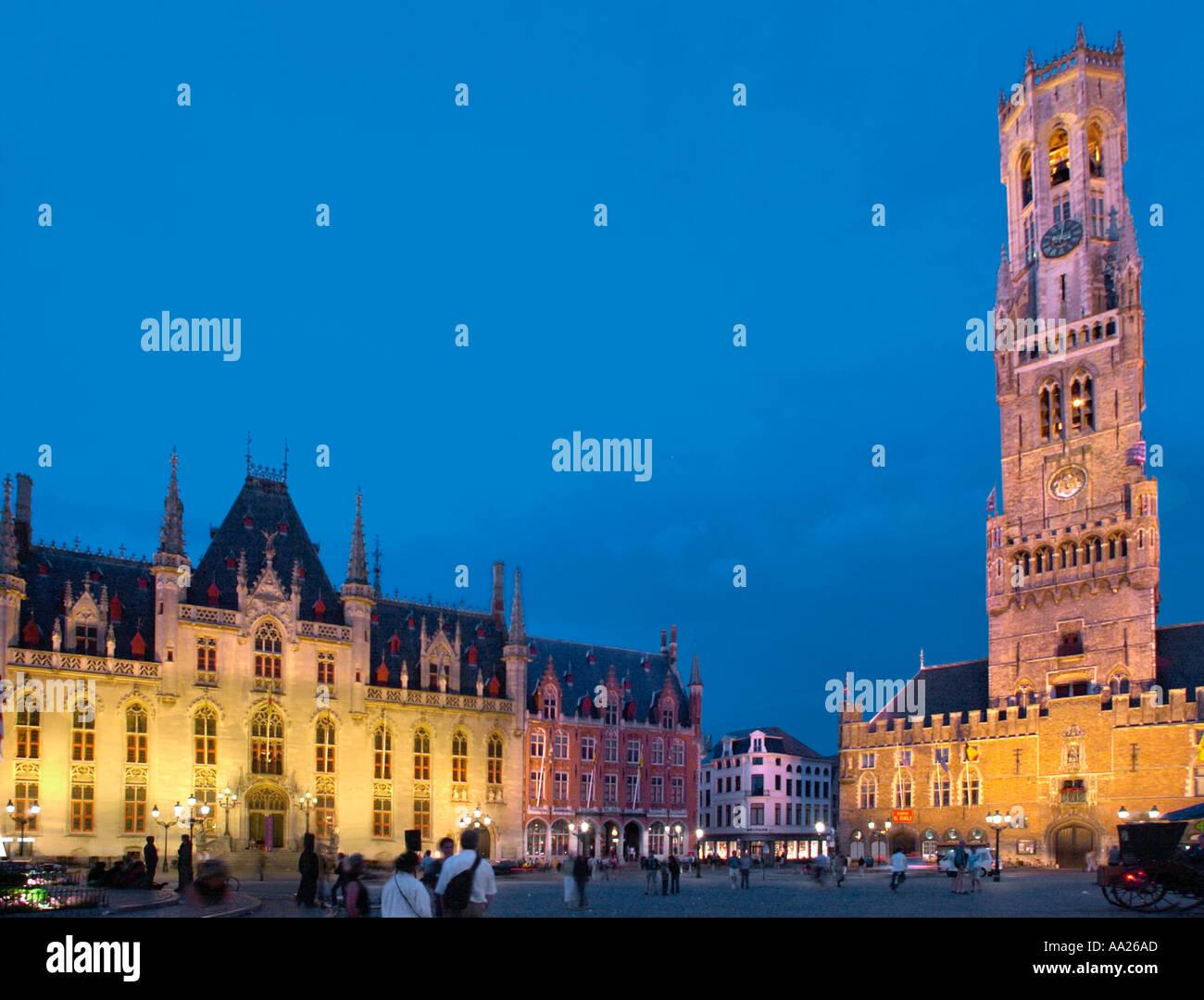 Bruges, Belgium. Markt at Night. - Stock Image