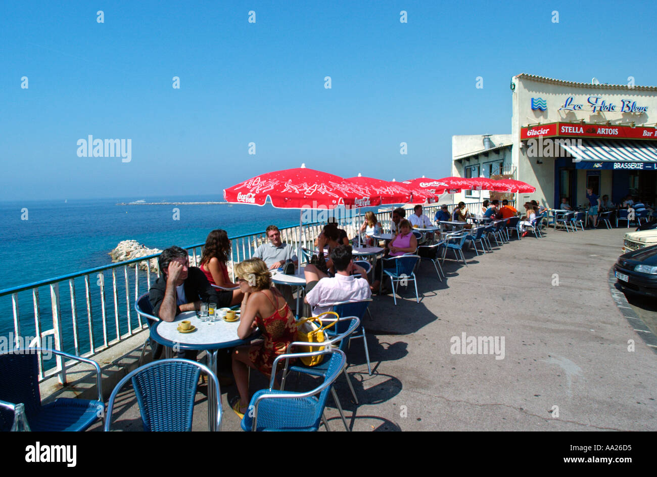 Cafe on the Corniche President Kennedy, Marseille, France - Stock Image