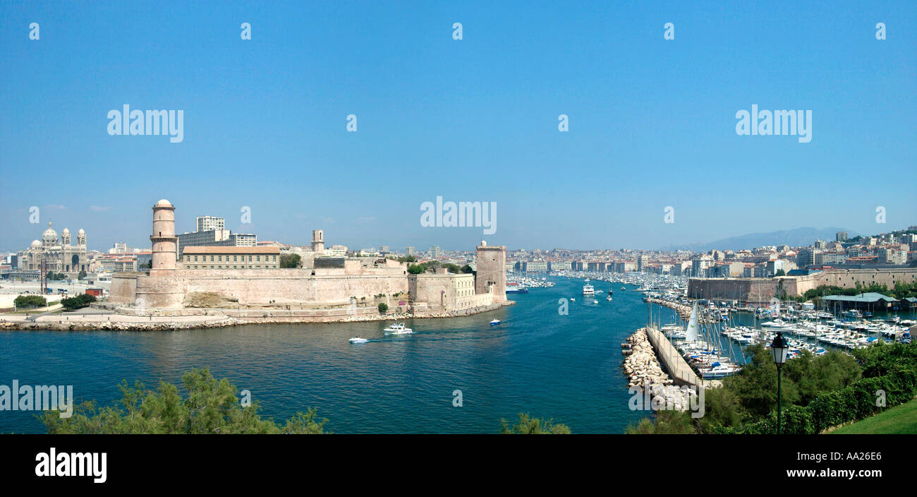 View over  the Vieux Port from the Jardin du Pharo, Marseille, France - Stock Image