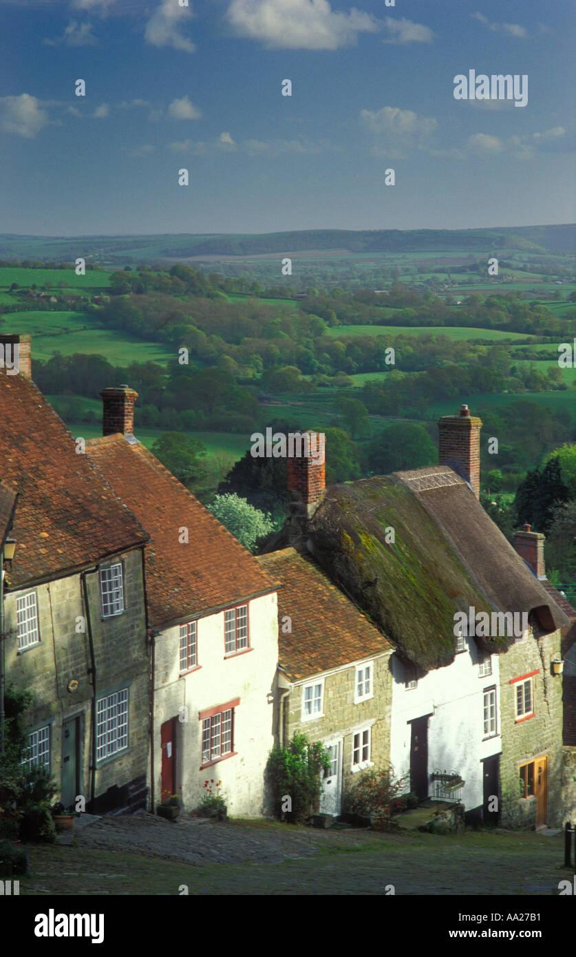 Gold Hill Shaftesbury Dorset UK - Stock Image